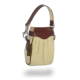 Beige Pleated Pouch with Brown Trim